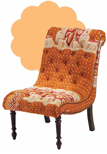 Chair upholstered with kantha cloth