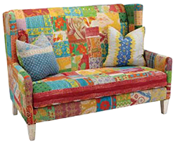 Sofa covered with Kantha
